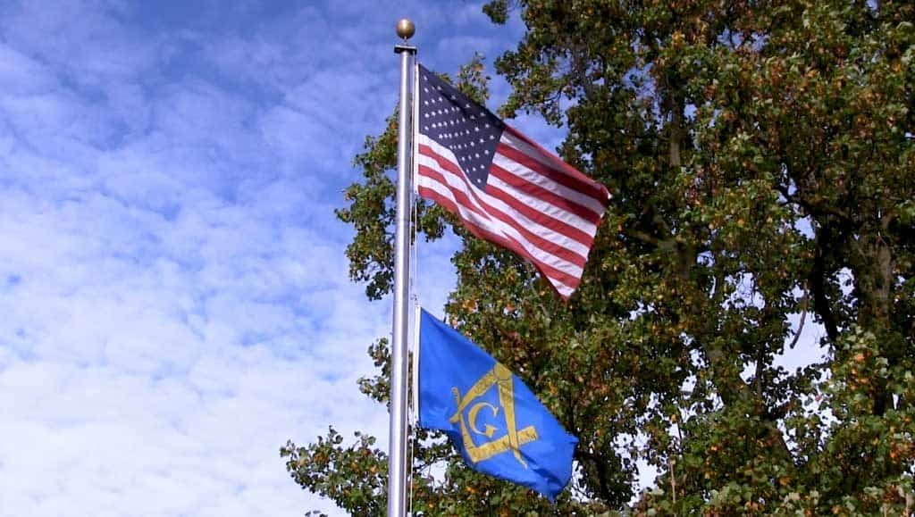 American flag and Masonic flag